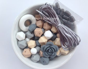 100 BULK Silicone Teething Beads, White, Beige, Oatmeal, Light Gray & Gray Silicone Beads, Bulk Silicone Beads Wholesale
