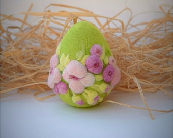 Easter Eggs Felted Ornament Home Decor Easter Gift Wool  Needle Felted Eggs Cherry Blossom