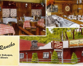 El Rancho East Dubuque Illinois Recycle Repurpose Vintage Real Photo Postcard 1950
