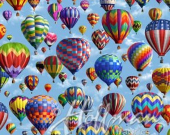Hoffman - American Byways - P4343-16-Sky - Balloons - Hot Air Balloons - Multi - Sky - One More Yard