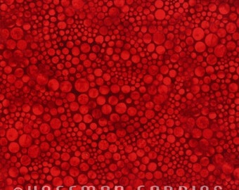 Hoffman - Strawberry - M7600-175 - Circles - Bubbles - Dots - Red - Tone-on-Tone - One More Yard