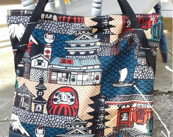 Asian inspired Zipper tote, Asian travel Tote, Zipper Tote Bag, Trip Zipper Tote,  Oversize Asian Travel Tote, Bag, Overnight Bag,