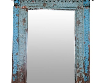 Turquoise Spindle Mirror, Floor Mirror, Wall Mirror, Antique Mirror, Rustic Mirror, Turquoise Mirror, Wood Carved Mirror