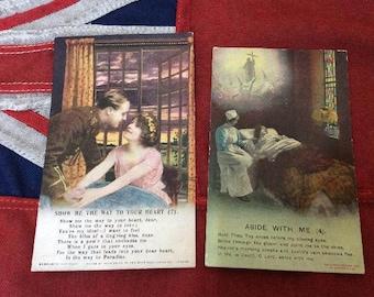 2 Old WW2 Postcards.Soldier,Nurse,Sentimental,Unused by Bamford.c1914-18