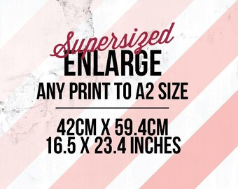 Enlarge any print to A2 (420mm by 594mm | 16.5 inches x 23.4 inches)