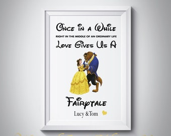 Beauty & the Beast Personalised - A4 Print