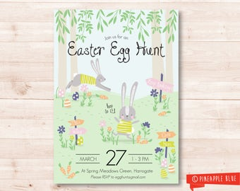 Printable easter egg hunt invitation | Customised Easter invite | Kids party invitation