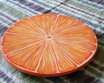 "15"" Hand Painted Wooden Lazy Susan, Orange Slice"