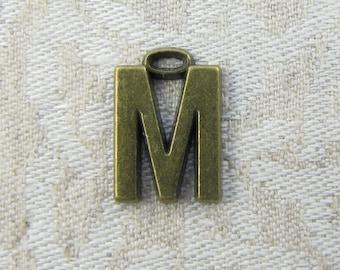 """Bronze Wide Sans Serif Letter """"M"""" Charm, 1 or 5 letters per package  ALF005m-BZ"""