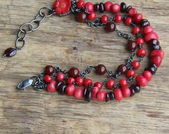 Sterling silver red coral bracelet bohemian bracelet rustic jewelry raw stone jewelry artisan bracelet boho bracelet gemstone bracelet