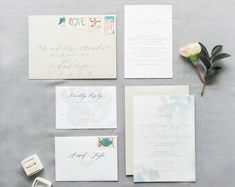 Custom Calligraphy Invitation Suite - Aquarelle - Flat, Foil, Letterpress Printing