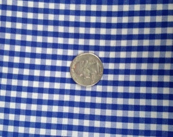 3 Yards Blue Gingham Check Fabric by Haber Fabrics