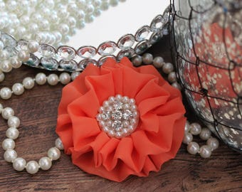 """4"""" CORAL Chiffon Fabric Flowers with Crystal Pearl Center - Fluffy - Beautiful -Hair Accessories - Wedding - TheFabFind"""