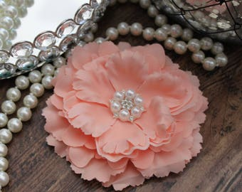 """4 1/2"""" PEACH / CORAL  Fabric Peony Flowers Layered with Crystal Pearl Center - Elegant - Beautiful - Hair Accessories - Wedding - TheFabFind"""