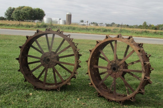 Iron Tractor Wheels : Tractor tires steel wheels vintage implement by