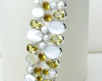 Mother of Pearl Citrine Pearl 925 S0LID Sterling Silver Bracelet B2544