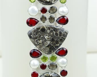 This is a Statement Piece! TURRITELLA Agate Fossil Pearl Garnet Peridot 925 S0LID Sterling Silver Bracelet B2649