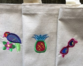 3 Reusible Grocery Bag Market Bag Bird Pineapple Sunglasses