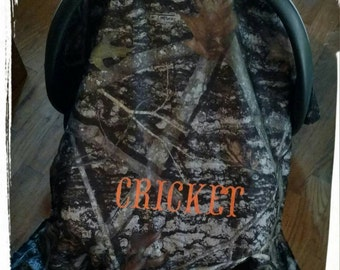 Camo Carseat Canopy, Realtree camo, Carseat cover, Baby seat cover, Winter seat cover, Minky dot with personalization!