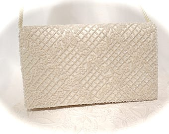 Vintage Beaded Purse Ivory Beaded Clutch Bridal Accessories VH-106