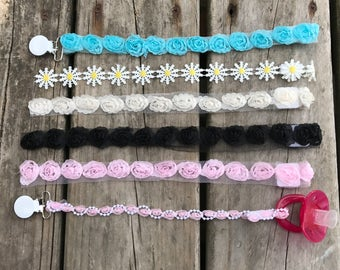 Girly pacifier clips