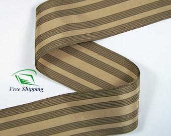 """2-1/8"""" (55mm) Brown Cotton Rayon Stripe Grosgrain Ribbon 1024 (BTY)"""