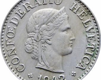 1942 Switzerland 10 Rappen Coin
