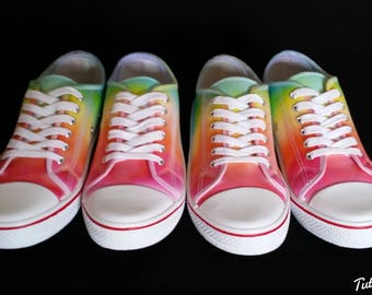 LGBT Pride Shoes - Rainbow Dyed Shoes - Tie Dyed Plimsolls - LGBT Plimsoles - Pride Rainbow Shoes