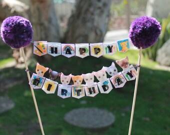 Kitten Happy Birthday Cake Topper