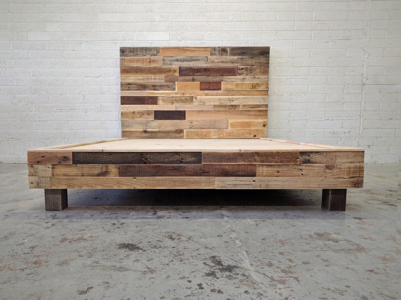 Reclaimed Wood Platform Bed Base Pallet Natural Twin Full