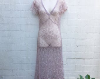Vintage 90's Lilac Lace Dress Floral Retro Size S 8-10