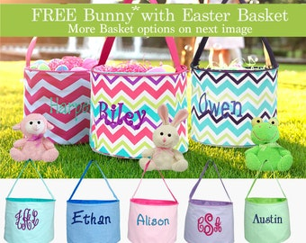 Monogram Easter Basket, Easter Bucket - personalized easter basket - Free Easter Plush Animal (If requested)