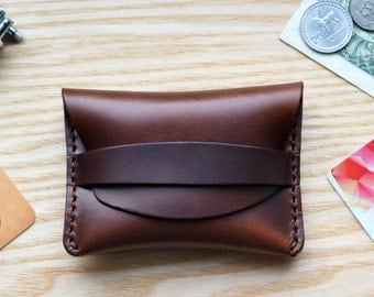 Flap Wallet in brown Horween Horse Chromexcel leather. Small purse, cash and card holder with Tan strap