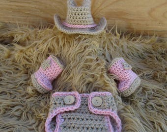 Crochet Baby Cowgirl Outfit Cowgirl Hat and Boots Set Tan Cowboy Baby Girl Outfit Baby Cowgirl Outfit Cowgirl Photo Prop Cowgirl Clothes
