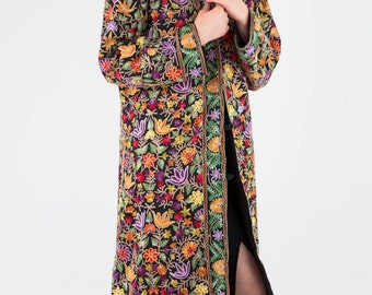 Stunning Vintage 70's Densely Embroidered Floral Bohemian Hippie Coat