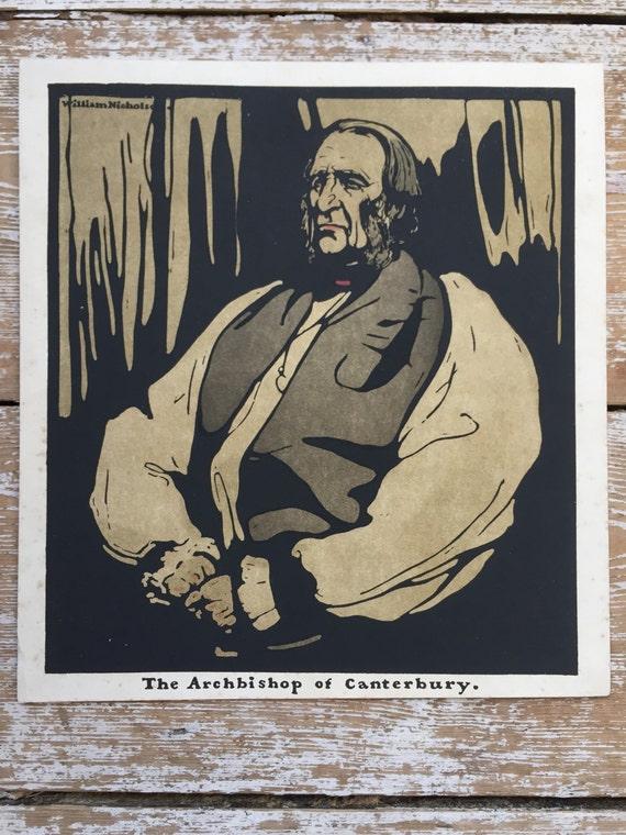 Sir William Nicholson chromolithograph portrait of Dr Temple, Archbishop of Canterbury