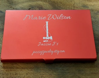 Lightweight Thin Engraved Aluminum Business Card Holder, Persoanlized Gift, Initial Wallet, Gift for Him, Gift for Her, Custom Card Case