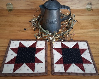 Quilted Coasters/  Quilted Mug Rugs/ Country Mug Rugs/ Quilted Candle Mats / Mug Rugs /