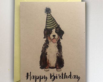 Bernese Mountain Dog  - Happy Birthday / Puppy // Berner with green party hat