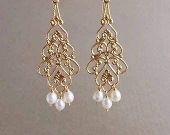 Versailles Vintage Filigree & Pearl Earrings