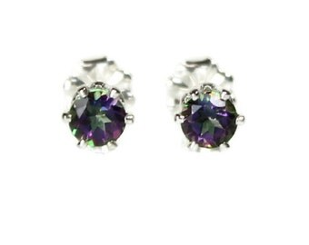 Small Mystic Topaz Earrings 4MM Round Rainbow Gemstone Studs 925 Sterling Silver Sister Gift for Women Daughter Jewelry Girlfriend Gift