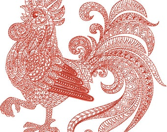 Rooster Machine Embroidery Design - 3 Sizes 4x4, 5 x 7-inch hoop, 8 x 8-inch hoop