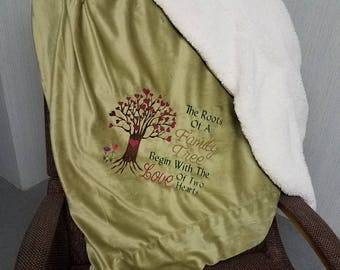 Embroidered Blanket - The Roots Of A Family Tree Begin With The Love Of Two Hearts