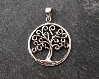 Sterling Silver Tree of Life Pendant, Curling Branches