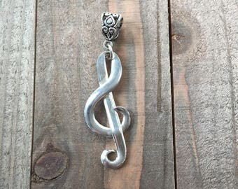 Musical note  pendant, treble  clef pendant, fork pendant, spoon jewelry, silverware jewelry, musical themed jewelry, music pendant,
