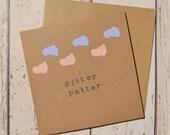 Pregnancy card 'pitter patter' - baby feet die cut