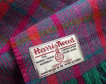 Harris Tweed Scarf Pure Wool Purple Slate Teal Coral Magenta Mustard