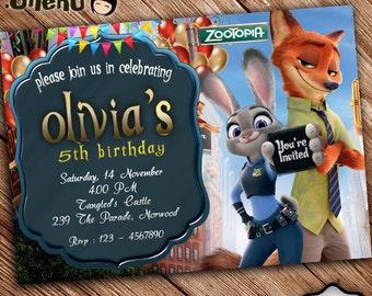 SALE 50% OFF Zootopia Birthday Invitation - Printable - Birthday Invitation for Girls and Boys - Zootopia Invitation Theme - Zootopia Party