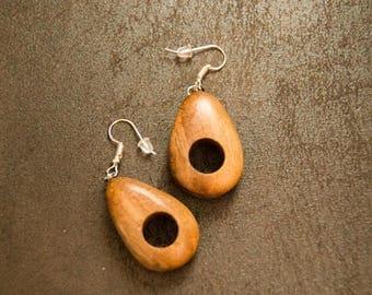 Wood (Cherry) Tear-drop Earrings