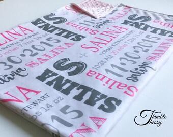 Birth Announcement Blanket, Minky Blanket, Personalized Blanket, Baby Shower Gift, Newborn Photography Prop, Birth Stat Blanket, Keepsake